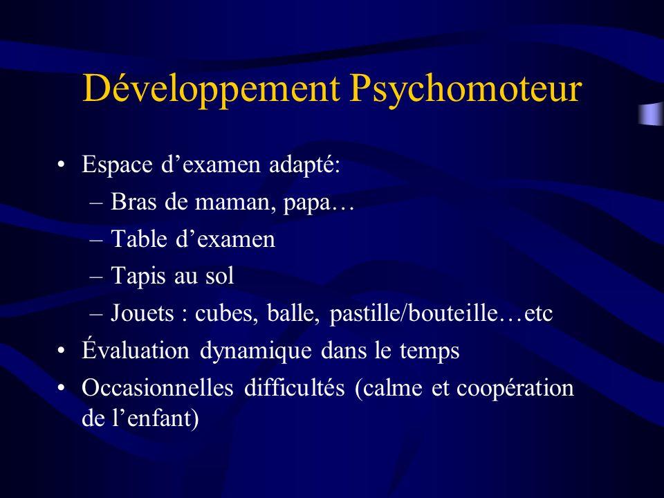 Développement Psychomoteur Espace dexamen adapté: –Bras de maman, papa… –Table dexamen –Tapis au sol –Jouets : cubes, balle, pastille/bouteille…etc Év