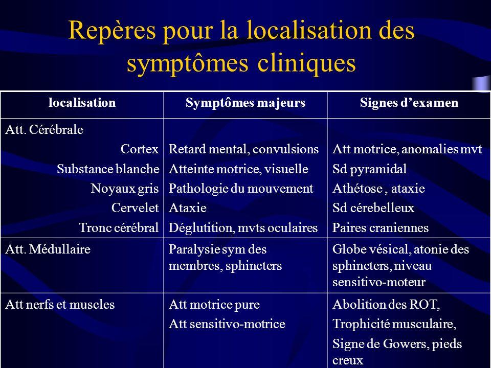 Repères pour la localisation des symptômes cliniques localisationSymptômes majeursSignes dexamen Att. Cérébrale Cortex Substance blanche Noyaux gris C