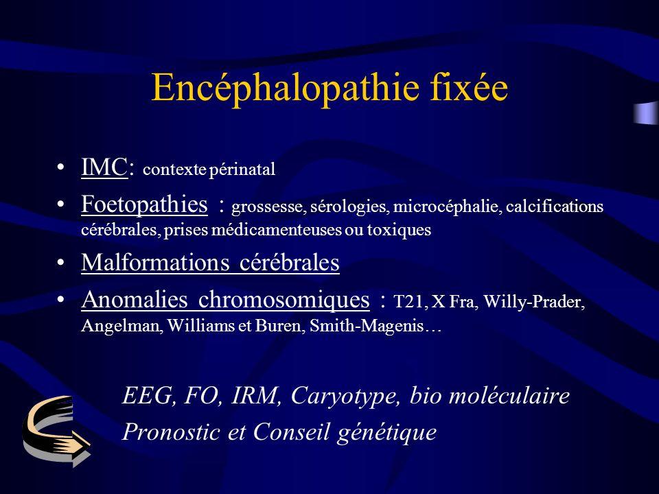 Encéphalopathie fixée IMC: contexte périnatal Foetopathies : grossesse, sérologies, microcéphalie, calcifications cérébrales, prises médicamenteuses o