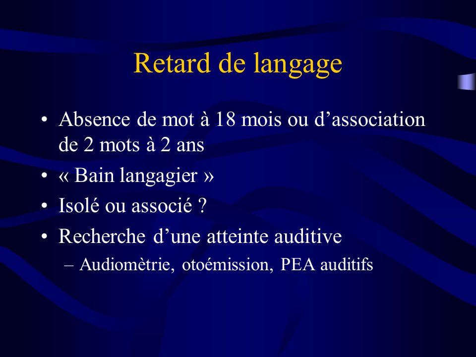 Retard de langage Absence de mot à 18 mois ou dassociation de 2 mots à 2 ans « Bain langagier » Isolé ou associé ? Recherche dune atteinte auditive –A