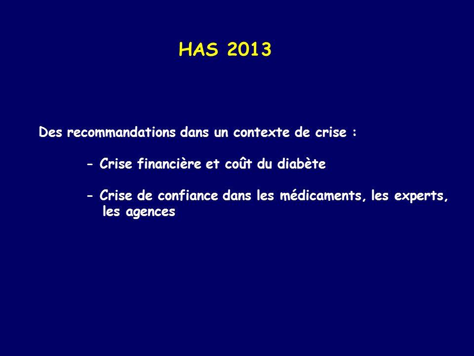 HAS 2013 Des recommandations dans un contexte de crise : - Crise financière et coût du diabète - Crise de confiance dans les médicaments, les experts,