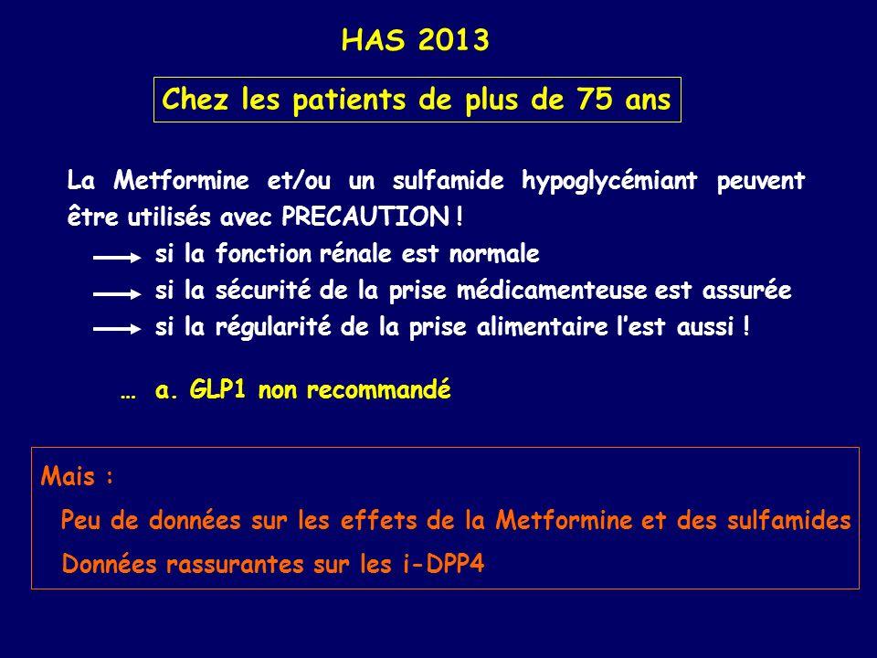 HAS 2013 Chez les patients de plus de 75 ans La Metformine et/ou un sulfamide hypoglycémiant peuvent être utilisés avec PRECAUTION ! si la fonction ré