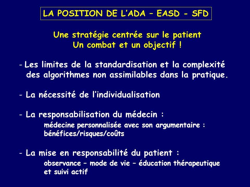 LA POSITION DE LADA – EASD - SFD Une stratégie centrée sur le patient Un combat et un objectif ! - Les limites de la standardisation et la complexité
