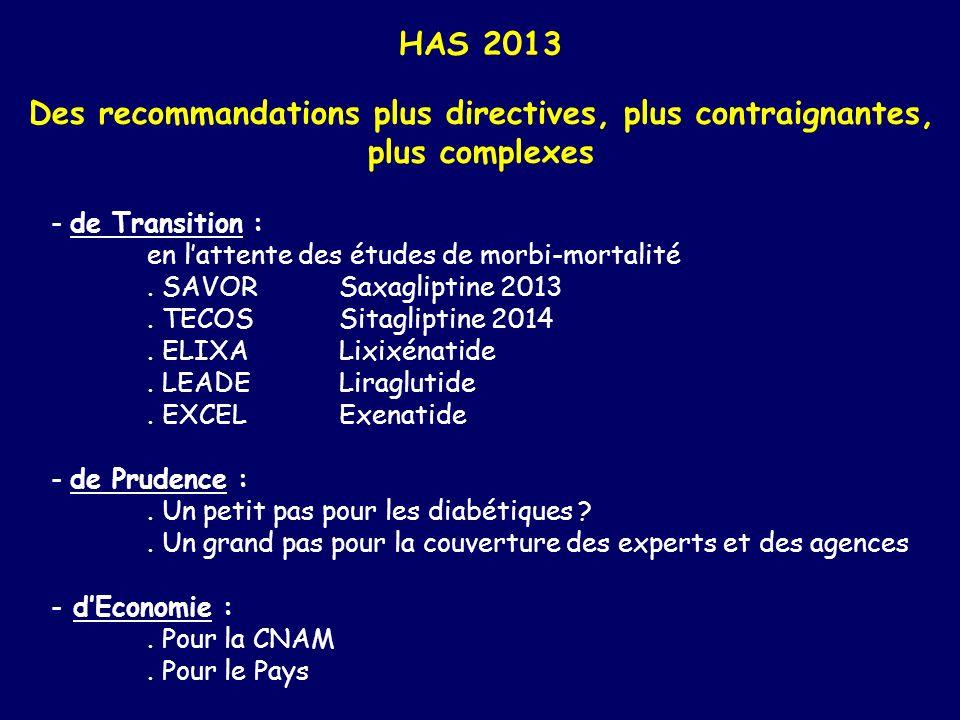 HAS 2013 Des recommandations plus directives, plus contraignantes, plus complexes - de Transition : en lattente des études de morbi-mortalité. SAVORSa