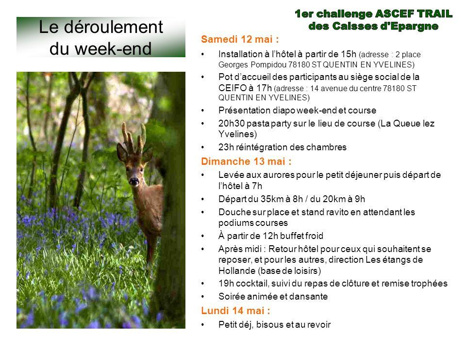 Le déroulement du week-end Samedi 12 mai : Installation à lhôtel à partir de 15h (adresse : 2 place Georges Pompidou 78180 ST QUENTIN EN YVELINES) Pot