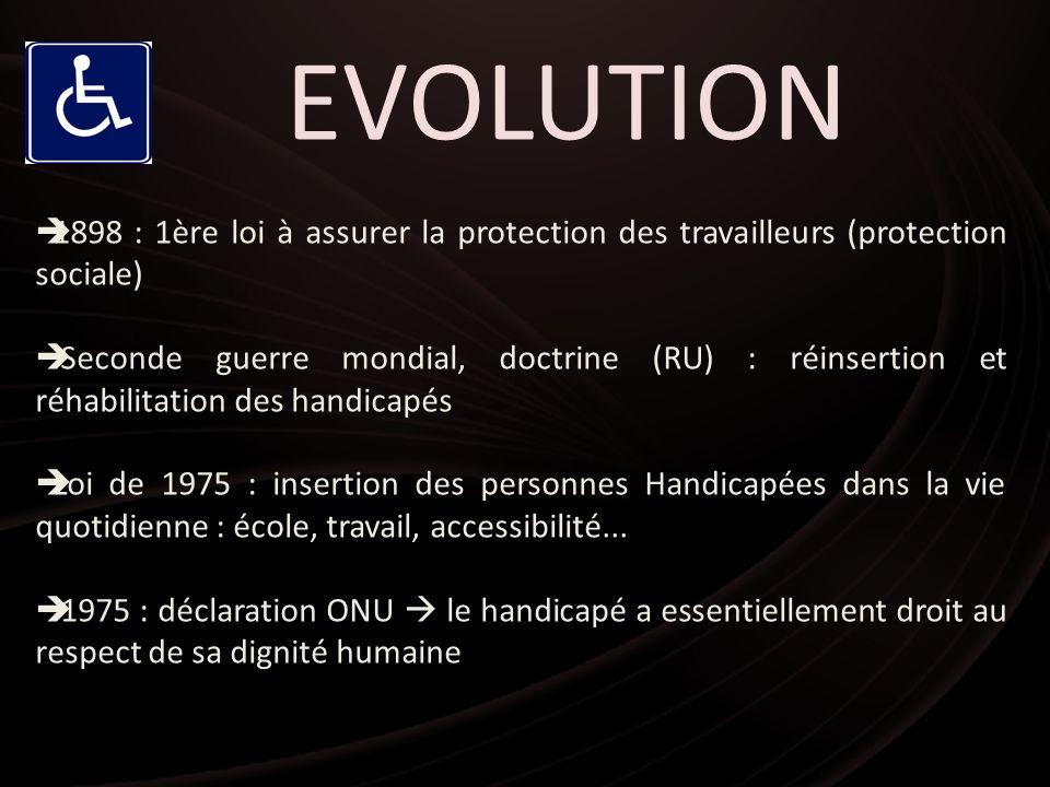EVOLUTION 1898 : 1ère loi à assurer la protection des travailleurs (protection sociale) Seconde guerre mondial, doctrine (RU) : réinsertion et réhabil