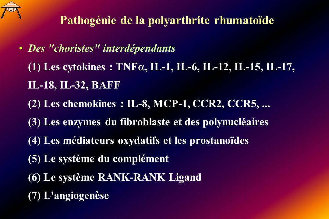 Pathogénie de la polyarthrite rhumatoïde Des choristes interdépendants (1) Les cytokines : TNF, IL-1, IL-6, IL-12, IL-15, IL-17, IL-18, IL-32, BAFF (2) Les chemokines : IL-8, MCP-1, CCR2, CCR5,...