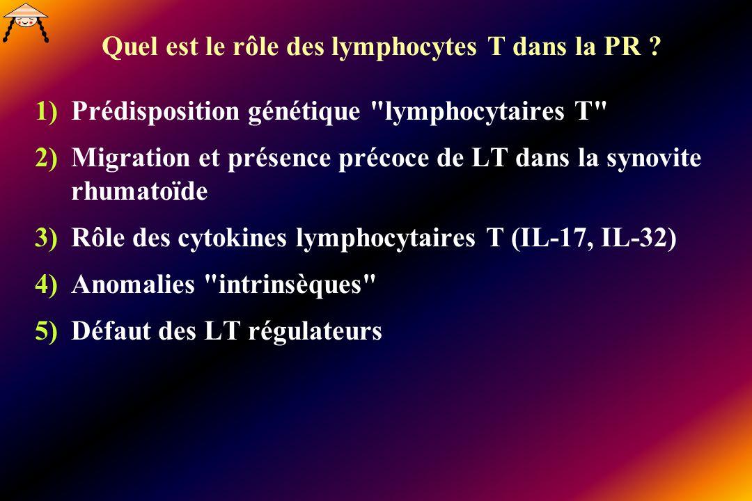 Quel est le rôle des lymphocytes T dans la PR ? 1)Prédisposition génétique