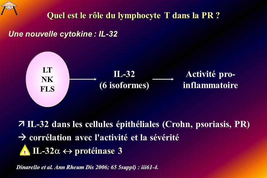 Une nouvelle cytokine : IL-32 Quel est le rôle du lymphocyte T dans la PR ? LT NK FLS LT NK FLS IL-32 (6 isoformes) Activité pro- inflammatoire IL-32