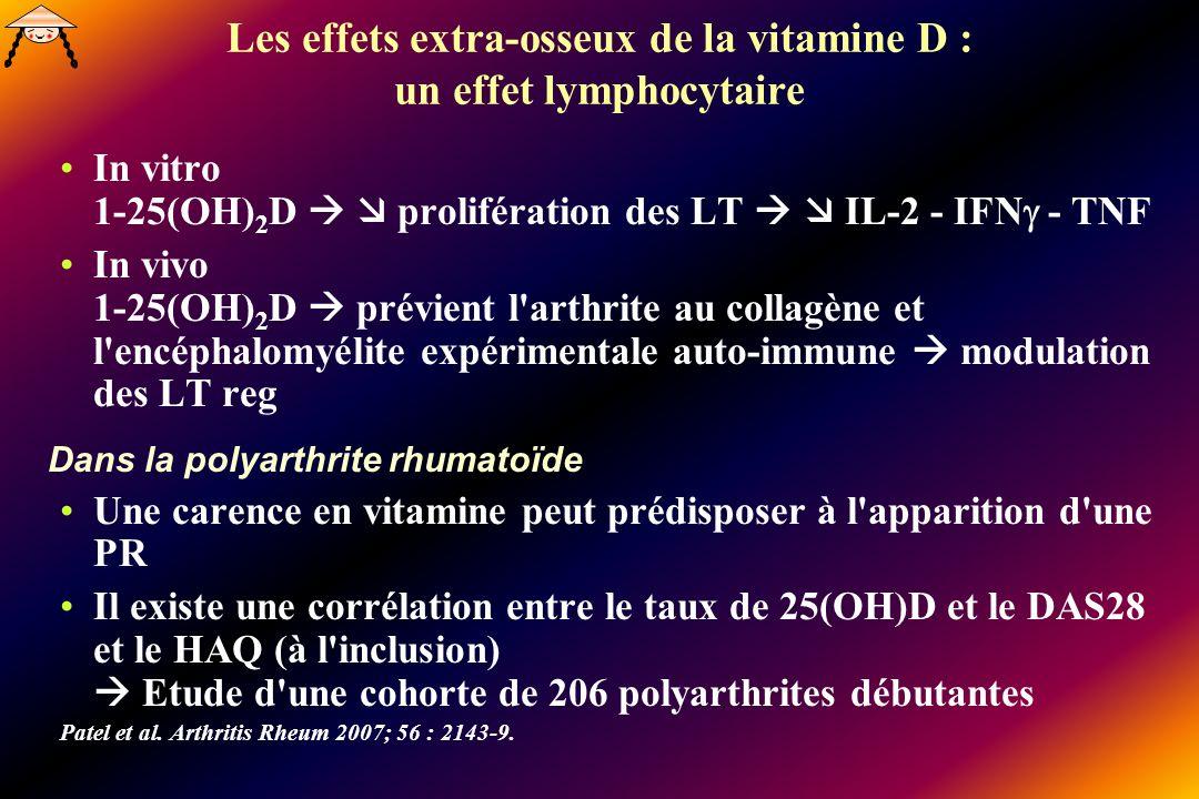 Les effets extra-osseux de la vitamine D : un effet lymphocytaire In vitro 1-25(OH) 2 D prolifération des LT IL-2 - IFN - TNF In vivo 1-25(OH) 2 D prévient l arthrite au collagène et l encéphalomyélite expérimentale auto-immune modulation des LT reg Dans la polyarthrite rhumatoïde Une carence en vitamine peut prédisposer à l apparition d une PR Il existe une corrélation entre le taux de 25(OH)D et le DAS28 et le HAQ (à l inclusion) Etude d une cohorte de 206 polyarthrites débutantes Patel et al.