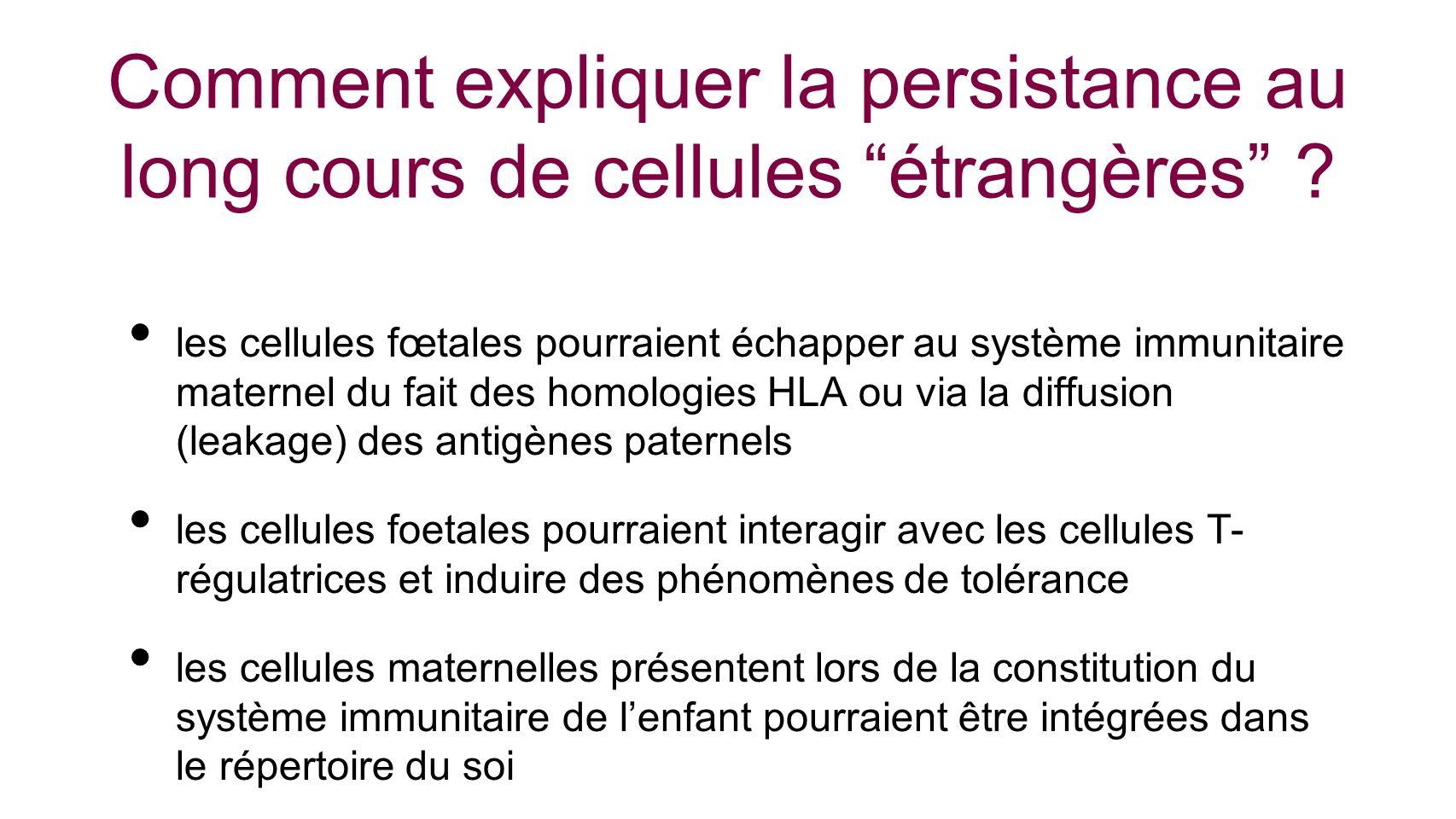 Comment expliquer la persistance au long cours de cellules étrangères ? les cellules fœtales pourraient échapper au système immunitaire maternel du fa
