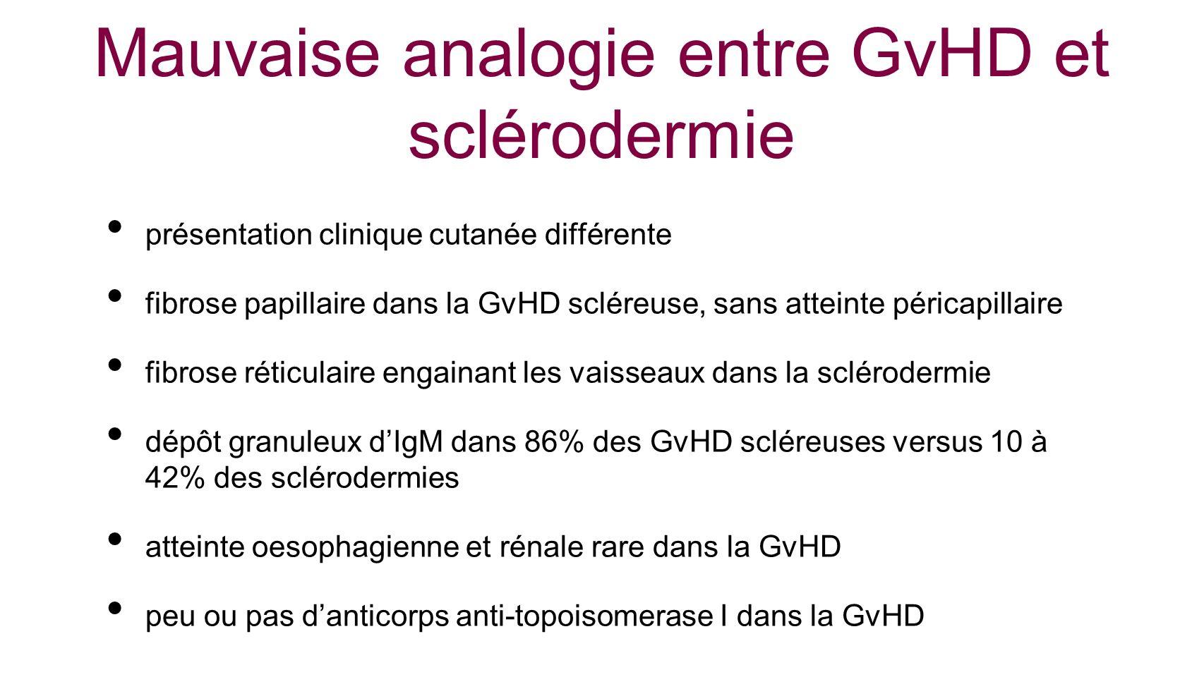 Mauvaise analogie entre GvHD et sclérodermie présentation clinique cutanée différente fibrose papillaire dans la GvHD scléreuse, sans atteinte péricap