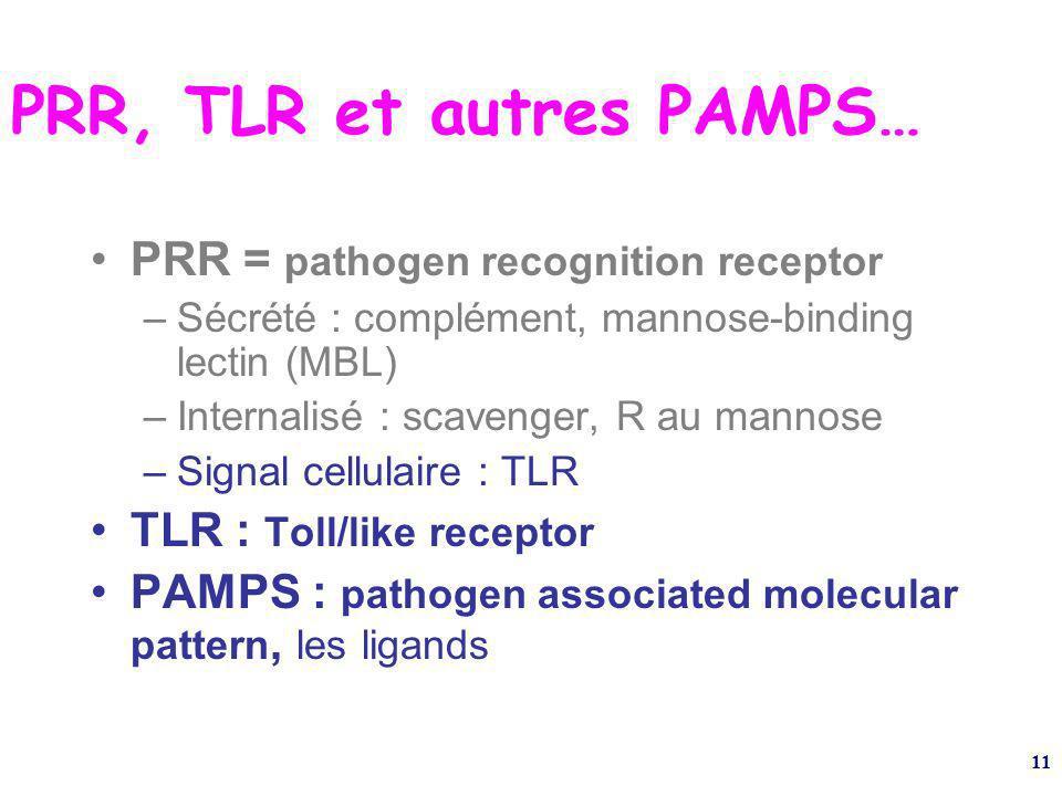 11 PRR, TLR et autres PAMPS… PRR = pathogen recognition receptor –Sécrété : complément, mannose-binding lectin (MBL) –Internalisé : scavenger, R au mannose –Signal cellulaire : TLR TLR : Toll/like receptor PAMPS : pathogen associated molecular pattern, les ligands