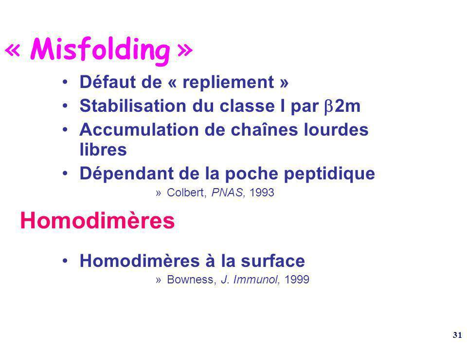 31 « Misfolding » Défaut de « repliement » Stabilisation du classe I par 2m Accumulation de chaînes lourdes libres Dépendant de la poche peptidique »Colbert, PNAS, 1993 Homodimères à la surface »Bowness, J.