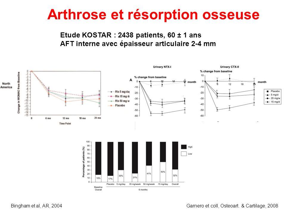 Bingham et al, AR, 2004 Etude KOSTAR : 2438 patients, 60 ± 1 ans AFT interne avec épaisseur articulaire 2-4 mm Arthrose et résorption osseuse Garnero