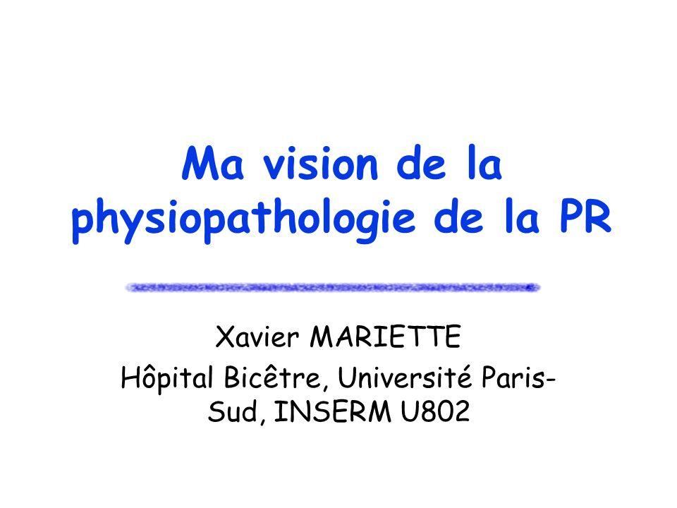 Ma vision de la physiopathologie de la PR Xavier MARIETTE Hôpital Bicêtre, Université Paris- Sud, INSERM U802