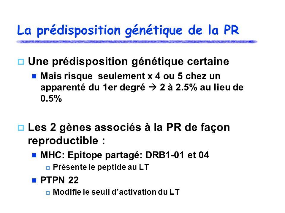 La prédisposition génétique de la PR Une prédisposition génétique certaine Mais risque seulement x 4 ou 5 chez un apparenté du 1er degré 2 à 2.5% au lieu de 0.5% Les 2 gènes associés à la PR de façon reproductible : MHC: Epitope partagé: DRB1-01 et 04 Présente le peptide au LT PTPN 22 Modifie le seuil dactivation du LT