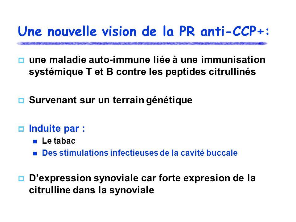 Une nouvelle vision de la PR anti-CCP+: une maladie auto-immune liée à une immunisation systémique T et B contre les peptides citrullinés Survenant su