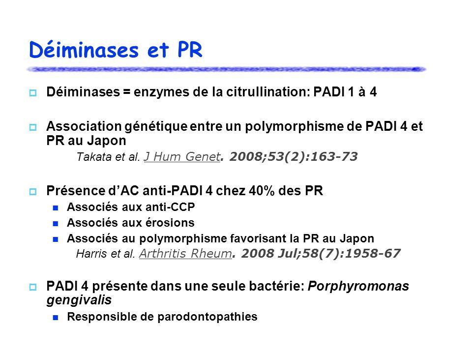 Déiminases et PR Déiminases = enzymes de la citrullination: PADI 1 à 4 Association génétique entre un polymorphisme de PADI 4 et PR au Japon Takata et