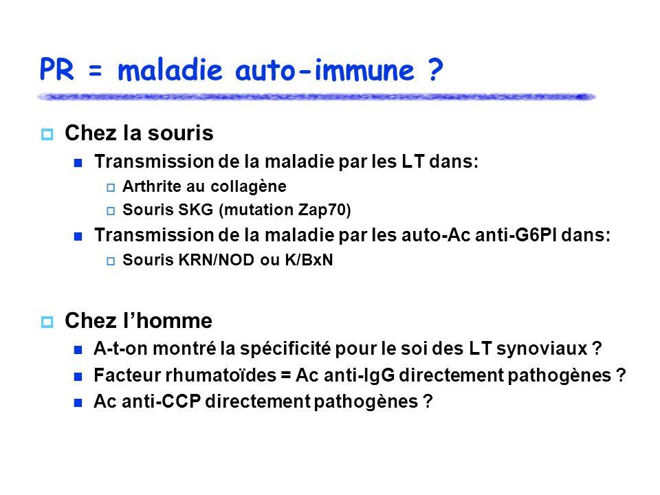 PR = maladie auto-immune ? Chez la souris Transmission de la maladie par les LT dans: Arthrite au collagène Souris SKG (mutation Zap70) Transmission d