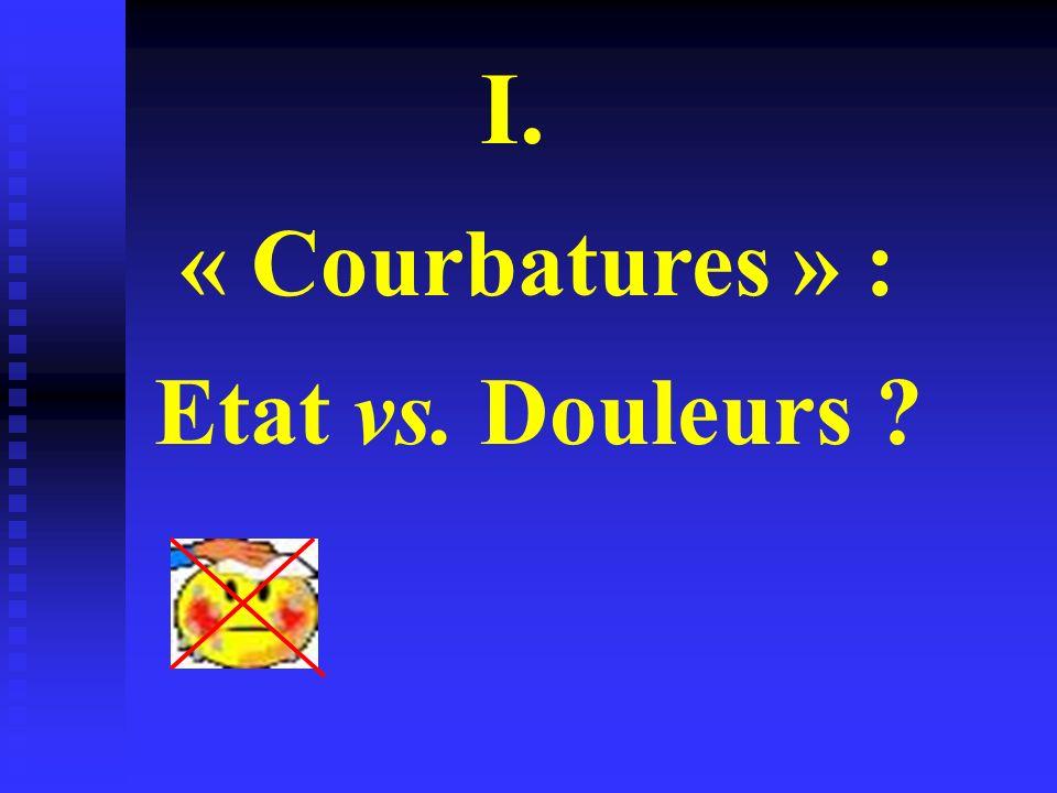 I. « Courbatures » : Etat vs. Douleurs ?