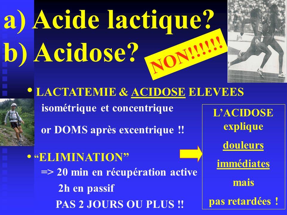 a) Acide lactique? NON!!!!!! ELIMINATION LACTATEMIE & ACIDOSE ELEVEES LACIDOSE explique douleurs immédiates mais pas retardées ! => 20 min en récupéra