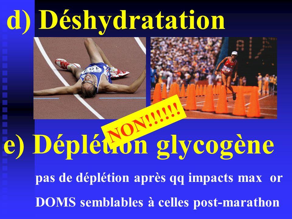 d) Déshydratation e) Déplétion glycogène NON!!!!!! pas de déplétion après qq impacts max or DOMS semblables à celles post-marathon