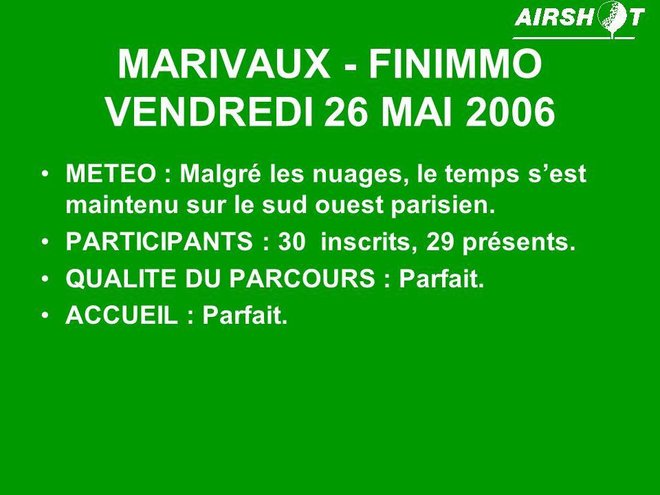 MARIVAUX - FINIMMO VENDREDI 26 MAI 2006 METEO : Malgré les nuages, le temps sest maintenu sur le sud ouest parisien. PARTICIPANTS : 30 inscrits, 29 pr