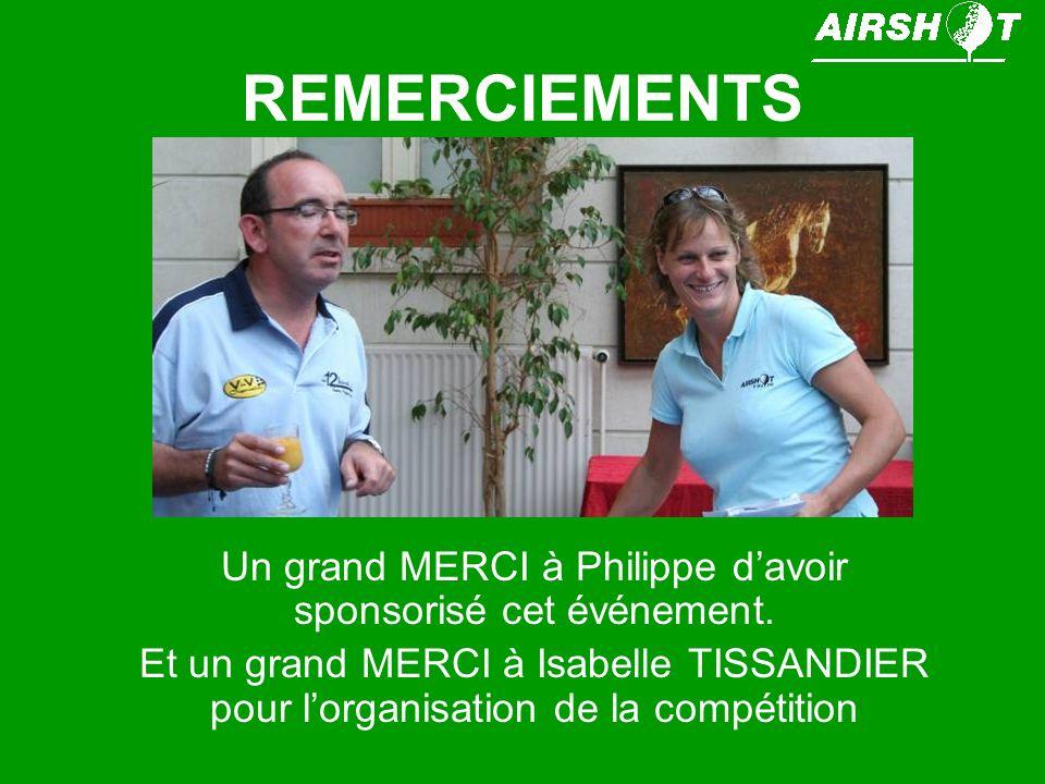 REMERCIEMENTS Un grand MERCI à Philippe davoir sponsorisé cet événement. Et un grand MERCI à Isabelle TISSANDIER pour lorganisation de la compétition