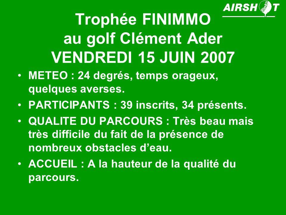 Trophée FINIMMO au golf Clément Ader VENDREDI 15 JUIN 2007 METEO : 24 degrés, temps orageux, quelques averses. PARTICIPANTS : 39 inscrits, 34 présents