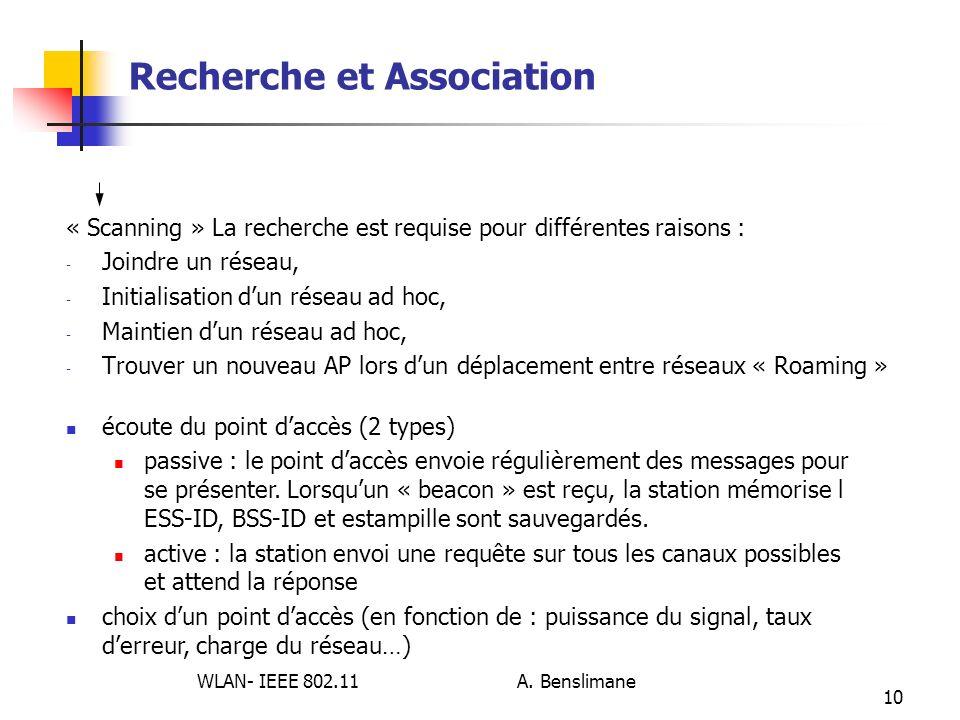 WLAN- IEEE 802.11 A. Benslimane 10 Recherche et Association « Scanning » La recherche est requise pour différentes raisons : - Joindre un réseau, - In