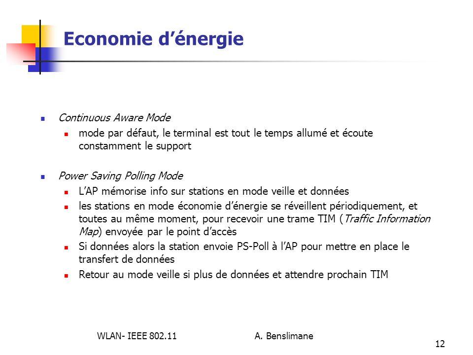 WLAN- IEEE 802.11 A. Benslimane 12 Economie dénergie Continuous Aware Mode mode par défaut, le terminal est tout le temps allumé et écoute constamment