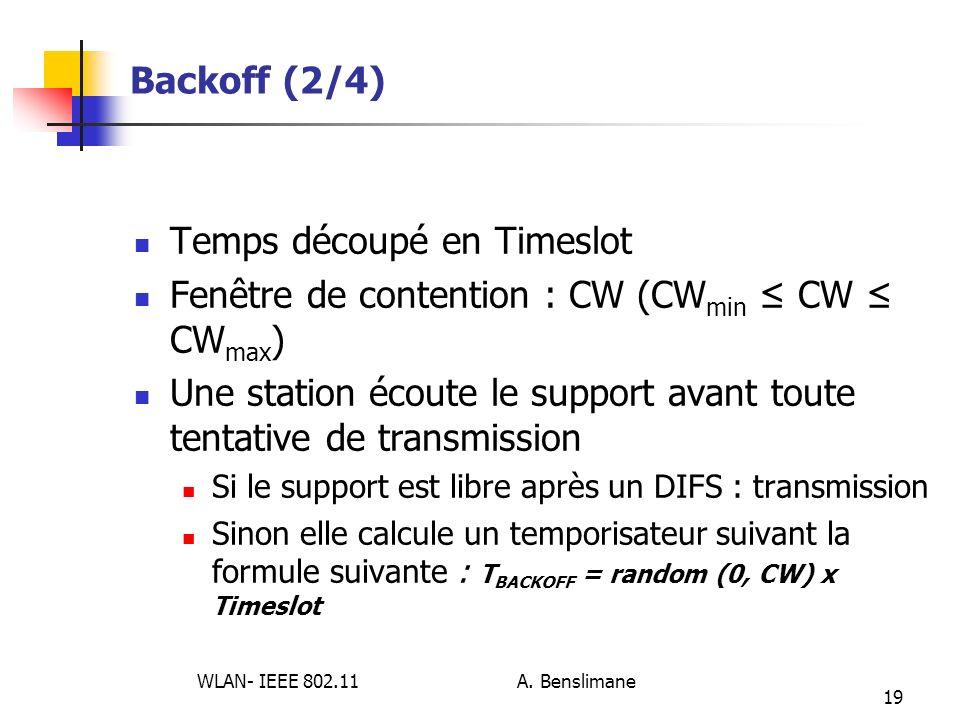 WLAN- IEEE 802.11 A. Benslimane 19 Backoff (2/4) Temps découpé en Timeslot Fenêtre de contention : CW (CW min CW CW max ) Une station écoute le suppor