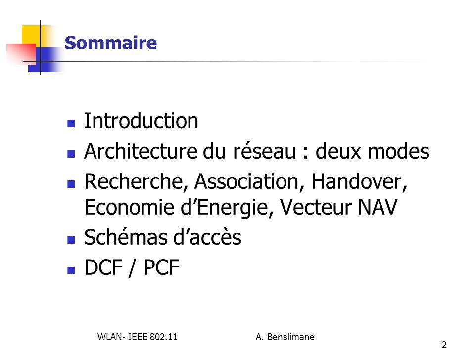 WLAN- IEEE 802.11 A. Benslimane 2 Sommaire Introduction Architecture du réseau : deux modes Recherche, Association, Handover, Economie dEnergie, Vecte