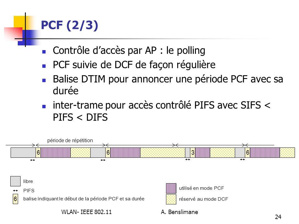 WLAN- IEEE 802.11 A. Benslimane 24 PCF (2/3) Contrôle daccès par AP : le polling PCF suivie de DCF de façon régulière Balise DTIM pour annoncer une pé