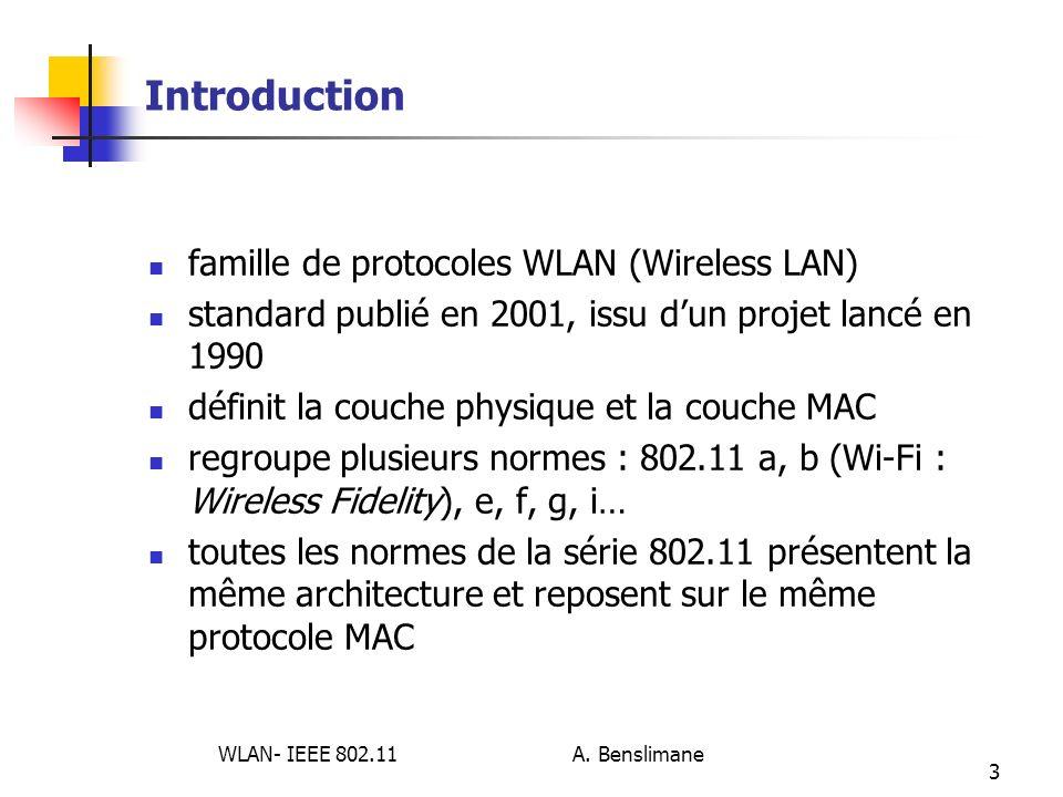 WLAN- IEEE 802.11 A. Benslimane 3 Introduction famille de protocoles WLAN (Wireless LAN) standard publié en 2001, issu dun projet lancé en 1990 défini