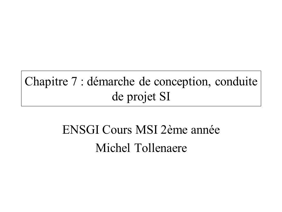 Chapitre 7 : démarche de conception, conduite de projet SI ENSGI Cours MSI 2ème année Michel Tollenaere