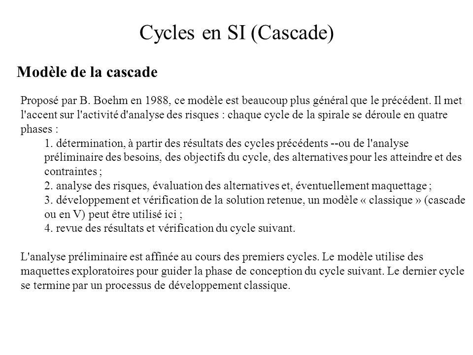 Cycles en SI (Cascade) Modèle de la cascade Proposé par B. Boehm en 1988, ce modèle est beaucoup plus général que le précédent. Il met l'accent sur l'