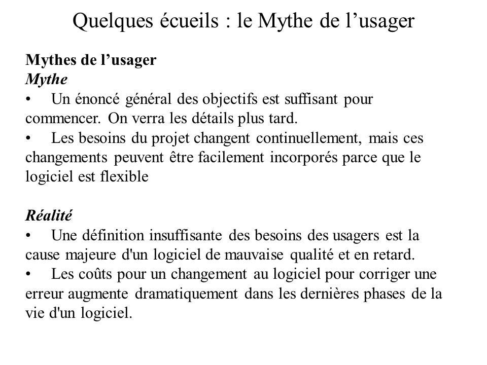 Quelques écueils : le Mythe de lusager Mythes de lusager Mythe Un énoncé général des objectifs est suffisant pour commencer. On verra les détails plus