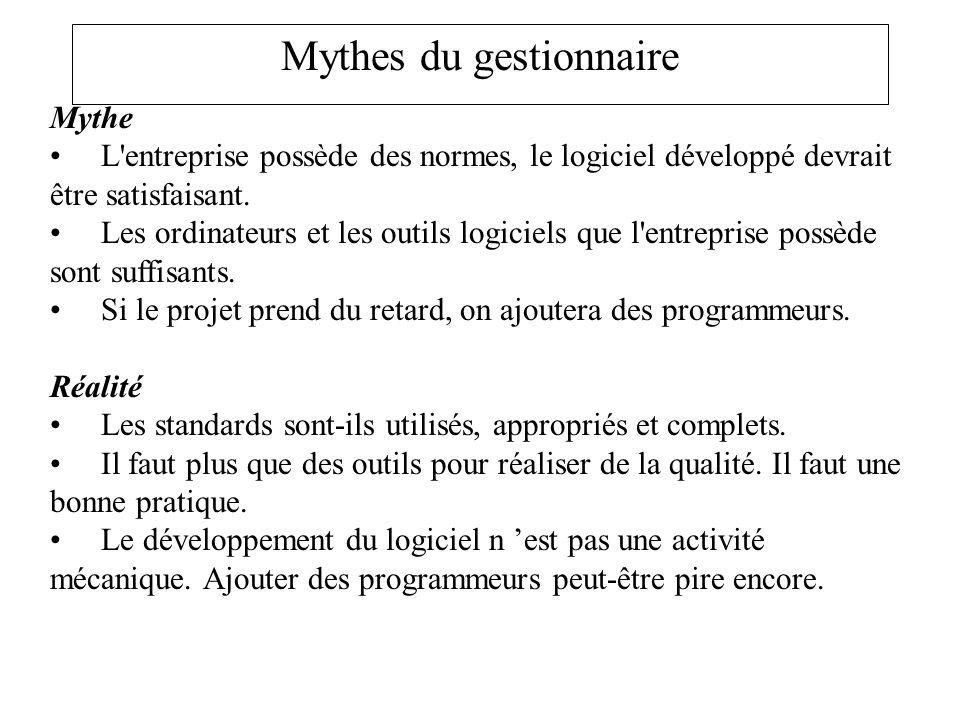 Mythes du gestionnaire Mythe L'entreprise possède des normes, le logiciel développé devrait être satisfaisant. Les ordinateurs et les outils logiciels