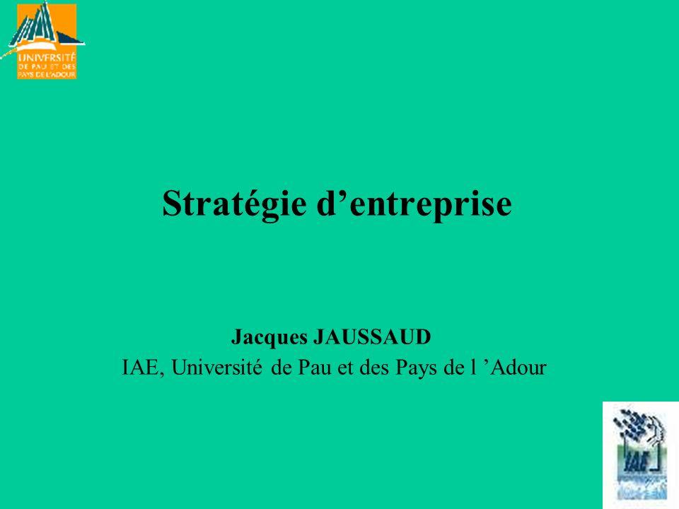 Stratégie dentreprise Jacques JAUSSAUD IAE, Université de Pau et des Pays de l Adour