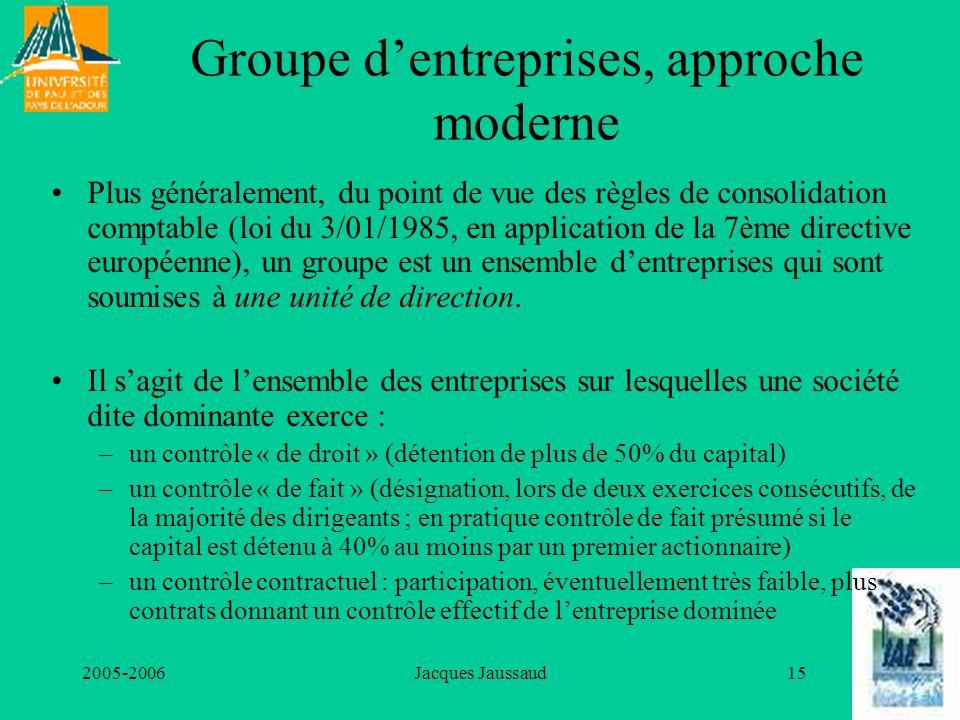 2005-2006Jacques Jaussaud15 Groupe dentreprises, approche moderne Plus généralement, du point de vue des règles de consolidation comptable (loi du 3/0