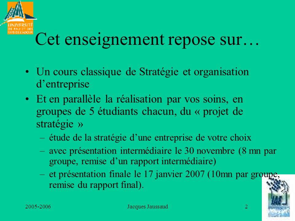 2005-2006Jacques Jaussaud2 Cet enseignement repose sur… Un cours classique de Stratégie et organisation dentreprise Et en parallèle la réalisation par