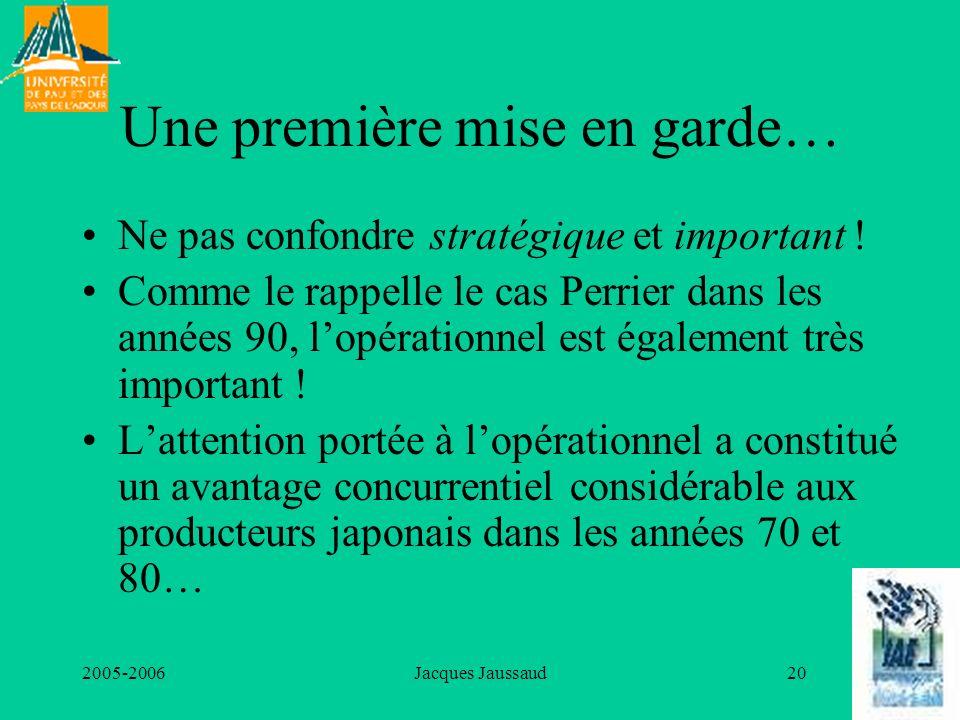 2005-2006Jacques Jaussaud20 Une première mise en garde… Ne pas confondre stratégique et important ! Comme le rappelle le cas Perrier dans les années 9