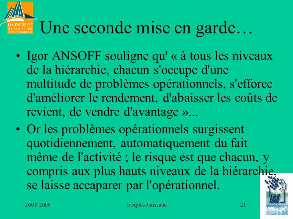 2005-2006Jacques Jaussaud21 Une seconde mise en garde… Igor ANSOFF souligne qu' « à tous les niveaux de la hiérarchie, chacun s'occupe d'une multitude