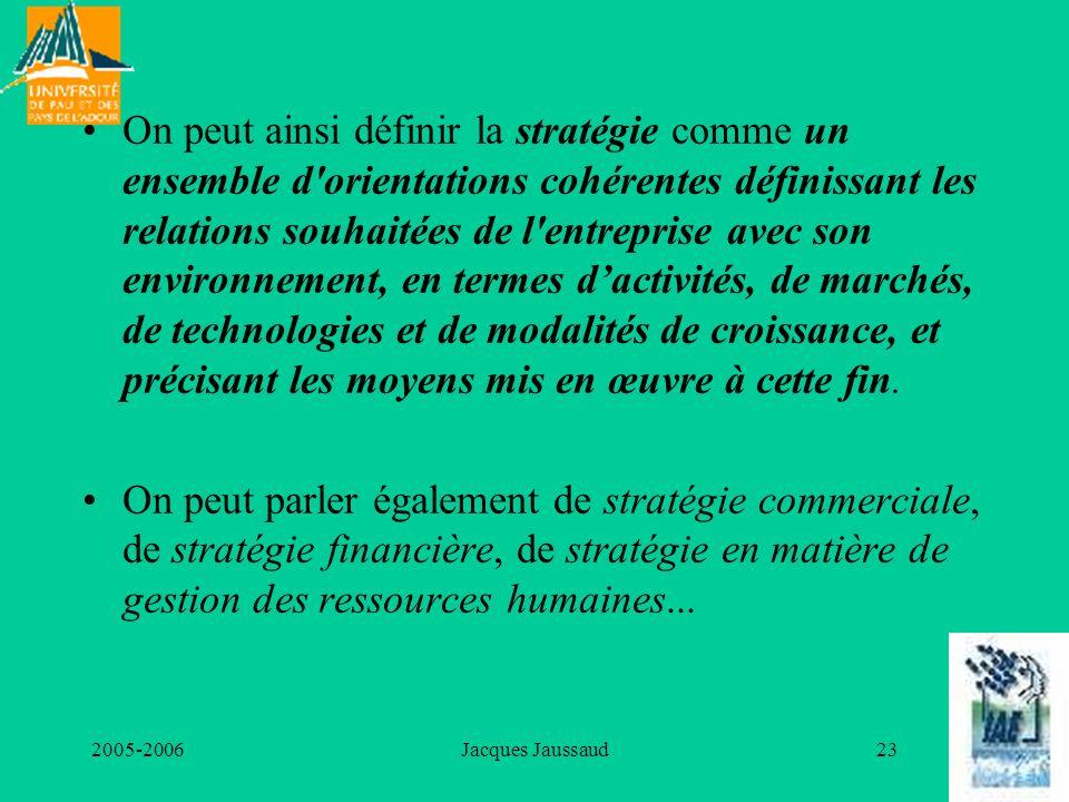 2005-2006Jacques Jaussaud23 On peut ainsi définir la stratégie comme un ensemble d'orientations cohérentes définissant les relations souhaitées de l'e