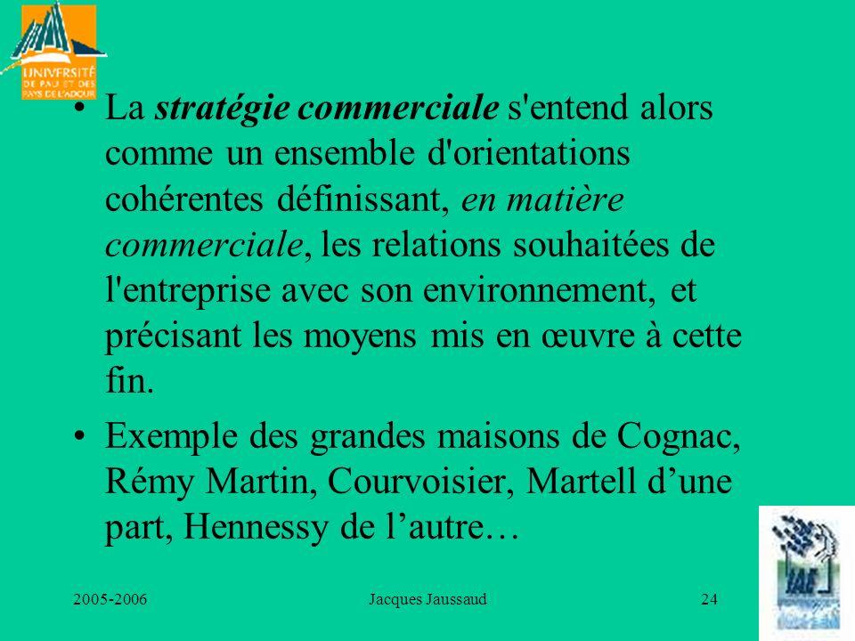 2005-2006Jacques Jaussaud24 La stratégie commerciale s'entend alors comme un ensemble d'orientations cohérentes définissant, en matière commerciale, l