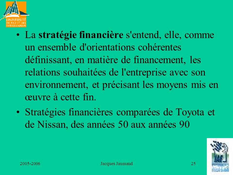 2005-2006Jacques Jaussaud25 La stratégie financière s'entend, elle, comme un ensemble d'orientations cohérentes définissant, en matière de financement