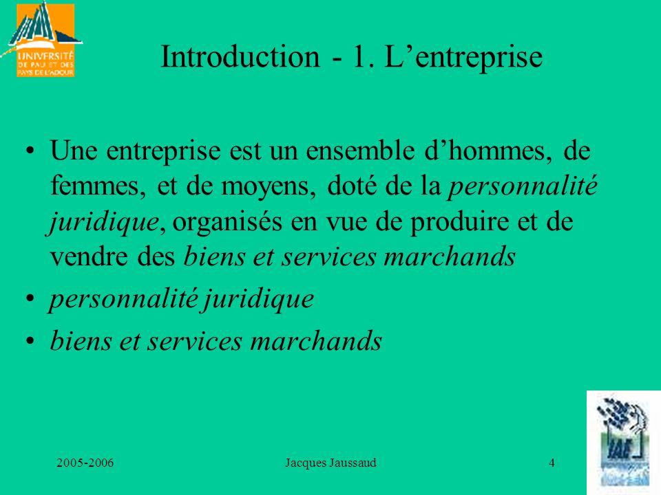 2005-2006Jacques Jaussaud4 Introduction - 1. Lentreprise Une entreprise est un ensemble dhommes, de femmes, et de moyens, doté de la personnalité juri
