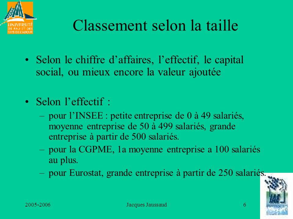 2005-2006Jacques Jaussaud6 Classement selon la taille Selon le chiffre daffaires, leffectif, le capital social, ou mieux encore la valeur ajoutée Selo